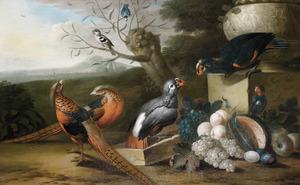 Papegaaien, fazanten en zangvogels met een vruchtenstilleven in een landschap