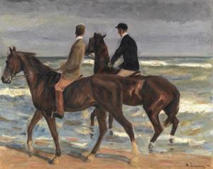 Twee ruiters aan het strand naar links