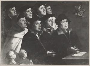 Portret van Jan Hallincq (....-....) en negen zonen