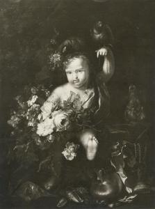 Jongen met bloemen en een papegaai