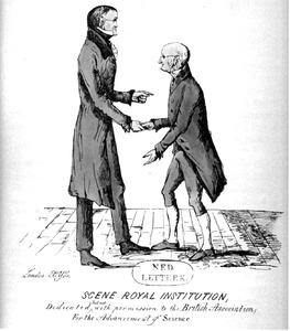 Karikaturaal dubbelportret van Gerard Moll (1785-1838) en John Dalton (1766-1844)