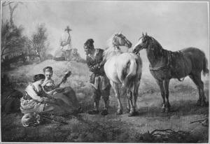 Landschap met een man die met twee zittende vrouwen praat terwijl hij twee paarden bij de teugel houdt