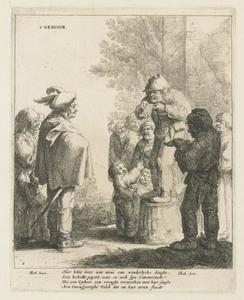 Twee zangers met toehoorders; allegorie op het Gehoor