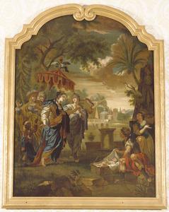 Het vinden van Mozes in het biezen mandje aan de Nijloever door de dochters van de farao (Exodus 2:6)