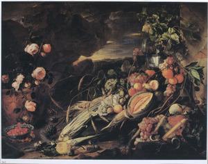 Stilleven van vruchten, groenten en rozen in een landschap