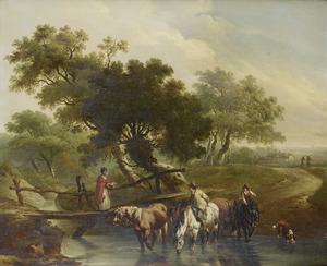Landschap met vrouw op een houten brug en ruiters bij een drenkplaats