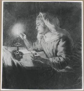 Jonge vrouw een staaf zegellak verwarmend in een kaars