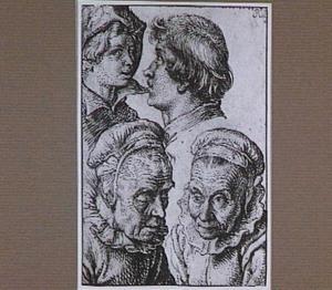 Twee jongenskoppen en twee studies van de kop van een oude vrouw