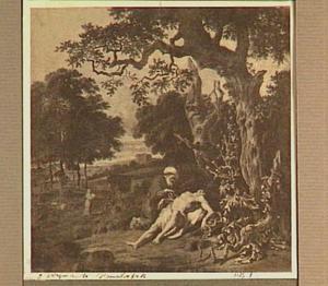 Boslandschap met  de barmhartige Samaritaan  die de gewonde reizger verzorgt (Lucas 10:25-37)