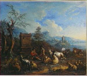 Rustende herders met vee in een italianiserend landschap