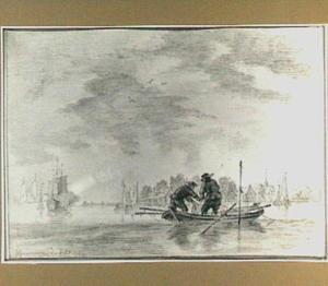 Riviergezicht met twee vissers in een bootje