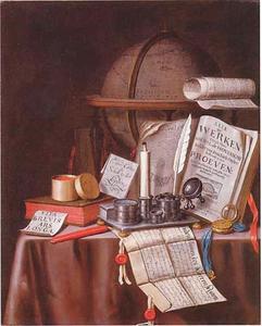 Vanitasstilleven met boeken, globe en een inktstel met kaars op een gedekte tafel