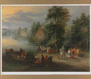 Landschap met aanlegplaats bij een dorp