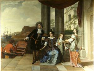 Portret van Hans Hartwijk (1630-1692), Anna Schut (1635-1709) en twee kinderen