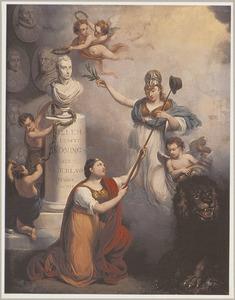 Allegorische voorstelling met borstbeeld van koning Willem I (1772-1843)