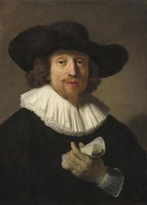Portret van een man met bladmuziek in de hand