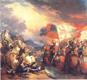 Edward II steekt de Somme over op weg naar de slag van Crécy, 13 augustus 1346
