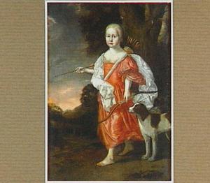 Portret van een meisje als antieke jageres (Diana?)