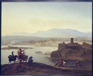 Zuidelijk landschap met halthoudende ruiters uitkijkend over een rivier