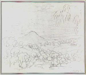 Heuvellandschap met bomen in de omgeving van Scandriglia