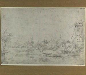 Rivierlandschap met molen bij Haarlem; op de achtergrond de Sint Bavo