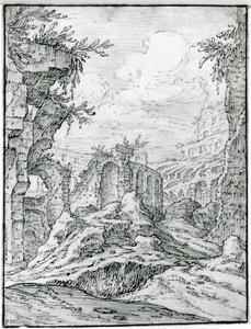 Zicht op een ruïne die het Colloseum zou kunnen zijn