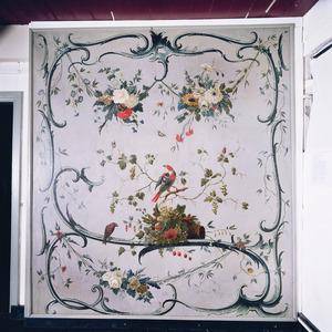 Rocailles met bloemenslingers, vruchten en vogels