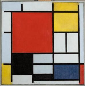 Composition with large red plane, yellow, black, gray and blue