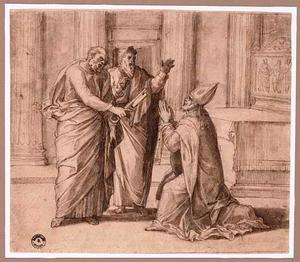 H. Servatius ontvangt van Petrus een zilveren sleutel