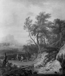 Italianiserend heuvellandschap met waterval en rustende herders