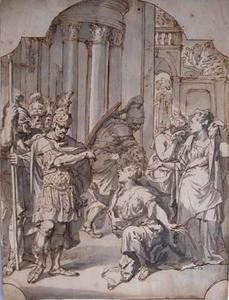 Smekende vrouw voor een romeins veldheer