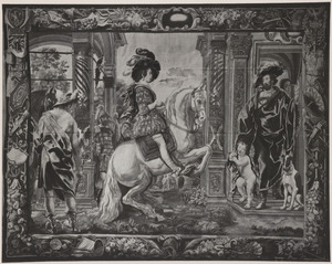 Jonge ruiter die een levade uitvoert in de aanwezigheid van Mercurius en een edelman