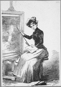 Een schilderes met palet en penseel werkende aan een schilderij