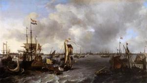 De 'Spiegel' met op de achtergrond het silhouet van Amsterdam