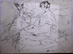 Twee zittende vrouwen in een landschap