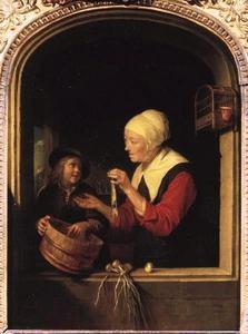Oude vrouw met haring en een jongen in een venster