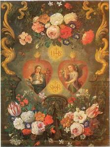 Bloemstilleven rondom twee heilige harten met een voorstelling van de Annunciatie