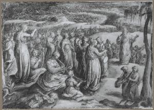 Miriam dansend met taboerijn, en musicerende vrouwen