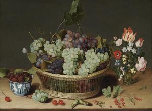 Stilleven met fruit en bloemen