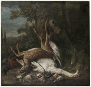Jachtstilleven met een hert, zwaan, fazant, patrijs en andere dode vogels