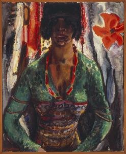 Vrouw met groene blouse