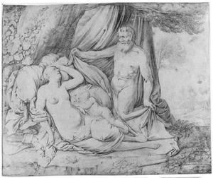 Slapende Venus en Amor door een sater bespied