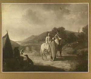 Landschap met man en vrouw te paard bij een waarzegster