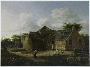 Boerenhofstede met twee boerinnen en schapen