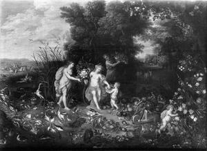 Allegorie van water en aarde: Ceres en Amphitrite (of een waternimf) in een landschap