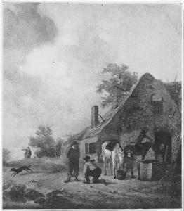 Landschap met halthoudende ruiters bij een huis