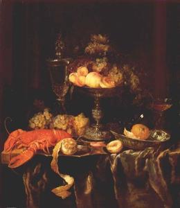 Vruchtenstilleven met glazen en een kreeft