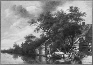 Rivierlandschap met boerderij en een visser in een roeiboot
