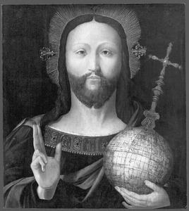 Majestas Domini: Christus met een aardglobe van Caspar Vopell (1536) als symbool van zijn wereldmacht  (op de keerzijde: Maria met kind)