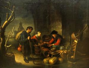 Oude vrouw die haring en groenten verkoopt met klant en bedelaar, de Blauwpoort te Leiden in de achtergrond